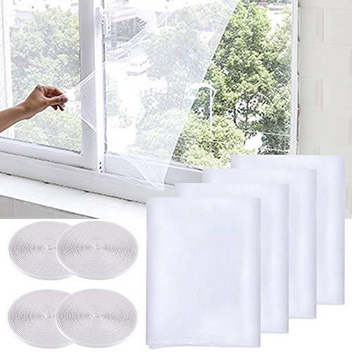 SITAKE 4 Pezzi Zanzariera per Finestra con 4 Nastri Autoadesivi - Zanzariera per Finestra Anti Insetti - Zanzariera autoadesiva per insetti/zanzare, per porte/finestre (1,3m x 1,5m, Bianco)