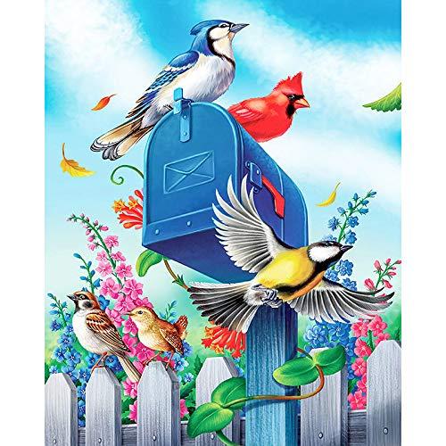 5D-diamant-schilderij met cijfers, 5D-diamant-schildering, kruissteek, blauw, brievenbus en kleurrijke vogels voor volwassenen, mozaïekborduurset, compleet met diamanten 40×50cm No frame