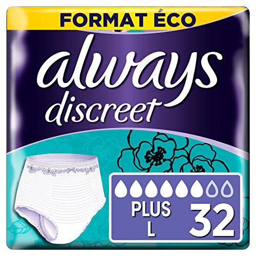 Always Discreet - Culottes pour incontinence / fuites urinaires, Taille L, Format éco x32 (Choix entre 5, 6 et 7 gouttes)
