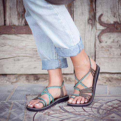 Plaka Flat Summer Sandals for Women Turquoise Gray Size 8 Palm Leaf