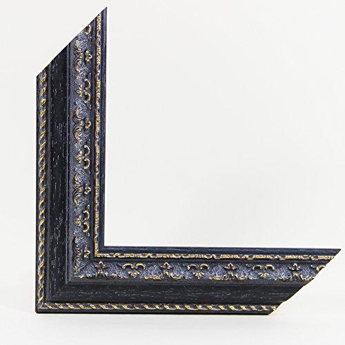 OLIMP-04 Bilderrahmen 90x60 cm Echtholz Barock in Farbe Antik Grau Gold