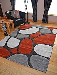 High quality Hand carved Thick deep, soft dense pile Stain resistant Colours: Rust, Silver, Dark Grey and Light Grey