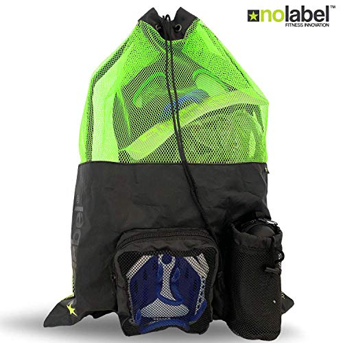No Label, borsa da nuoto in rete XL, con coulisse, zaino unisex grande, zaino da nuoto con stringa a di rete, per allenamento e nuoto, Nero / Neon, XL
