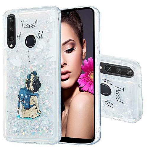 Miagon Flüssig Hülle für Huawei P40 Lite E/Y7P,Glitzer Weich Treibsand Handyhülle Glitter Quicksand Silikon TPU Bumper Schutzhülle Case Cover-Hund