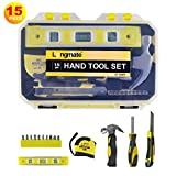 Household Hand Tool Kit,Longmate 15 Piece Home Basic Repair Tool Set with Storage Case