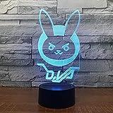 The Heckling Hare Night Light 3D LED USB Lámpara de mesa regalo de cumpleaños para niños decoración de la habitación junto a la cama