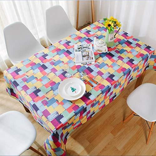 shiyueNB American Pastoral Plaid tafelkleed olieverfschilderij graffiti katoen en linnen western tafelkleed salontafelkleed individueel een generatie haarkleur ruimte 140 * 220