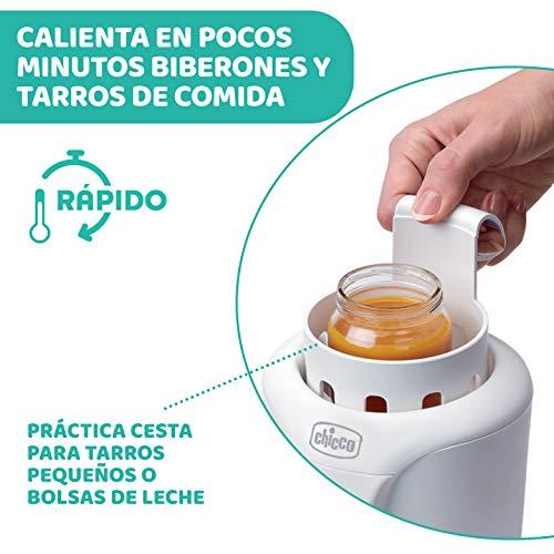 Chicco Calienta Biberones Doméstico y de Viaje con 2 Programas y Apagado Automático, Calienta Temperatura Ideal – Calentador de Alimentos para Bebés, Apto para Tarritos, 110W, Color Blanco