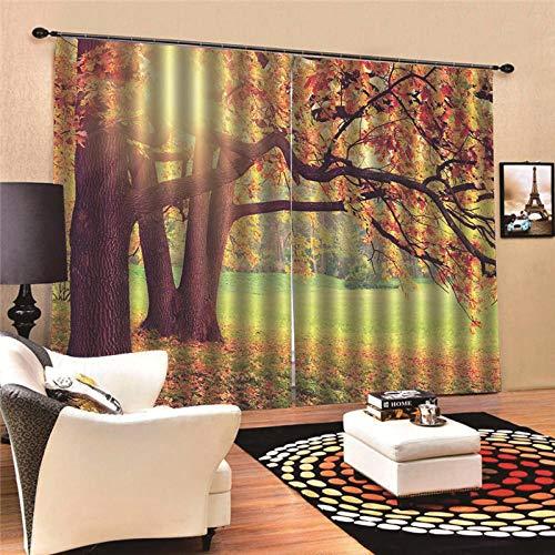 EZEZWSNBB Feste Isolationsvorhänge - Maple Sunshine- 100% Polyester 150 x 166 cm - Sonnenschutzvorhänge - Geräuschreduzierung - Geeignet für Wohn-, Schlafzimmer- und 3D-Bedruckte Vorhänge