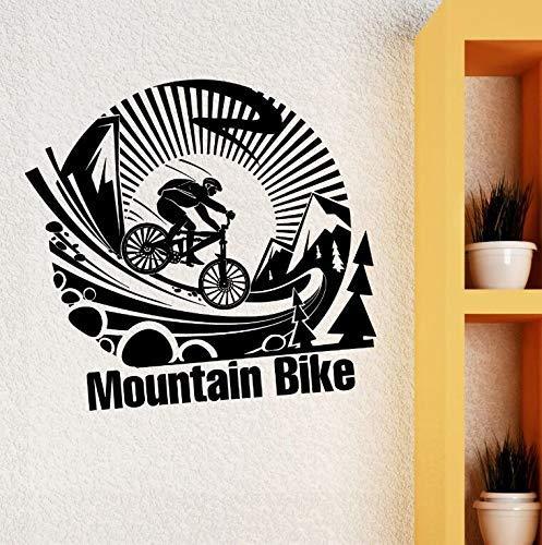 Afneembare Vinyl Muursticker Mountainbike Extreme Sport Muursticker Extreme Sport Art Fiets Poster Jongens Kamer Muurdecoratie 42 * 40cm