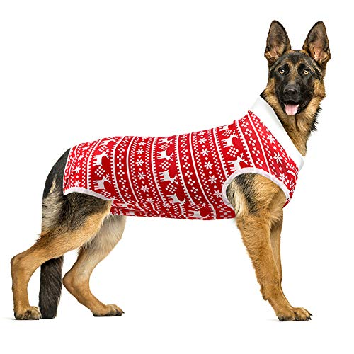 LIANZIMAU Dog Surgical Recovery Suit Onesie Breathable Abdominal Wounds and Protect Skin Anti Licking Cone E Collar Alternative After Post-Operation Wear