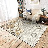 LAMEDER Home Alfombra De Diseño,Patrón Abstracto Beige Claro Gris marrón Blanco Amarillo marrón triángulo sólido Sala de Estar sofá Alfombra Lateral, 100 × 160 cm