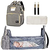 Diaper Bag Backpack with Auto Folding Crib, Portable Sleeping Mummy Bag include Insulated Pocket, Multi-Functional Baby Bassinet Diaper Backpack Organizer with Diapers Changing Station (Bag+Crib+Grey)