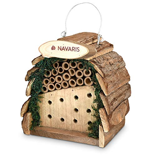 Navaris Hotel para Insectos Compacto de Madera - Observatorio de Insectos 16 x 10 x 16CM - Casa Natural Redondeada y con Gancho para bichos