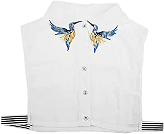 LANGUGU Stylish Detachable Collar Half Shirt Blouse Embroidered Birds Pattern Chiffon False Collar Dickey Collar
