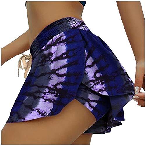 Smonke Frauen gedruckt Frenulum Running Fitness gefälschte Zweiteilige Hose Rock Shorts