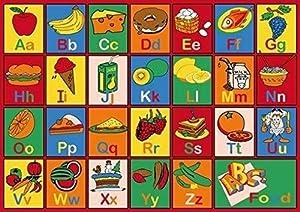 Champion Rugs Kids Area Rug ABC Food Fruits Apple Banana Ice Cream Learning/Playtime Carpet (3 Feet X 5 Feet)