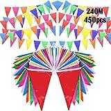 Comius Sharp 787 piedi bandiera gagliardetti bandiera bandiera stringa, 450 pezzi bandiere gagliardetto in tessuto di nylon per inaugurazione, feste, compleanno, matrimonio, decorazioni natalizie