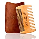 Hair Dough Wood Beard Comb & Case, Double Sided Wide & Fine Tooth, Best to use with Men's Hair Products Such as Wax, Oil, Balm, and Paste, Durable Small Pocket Size with Leather Case