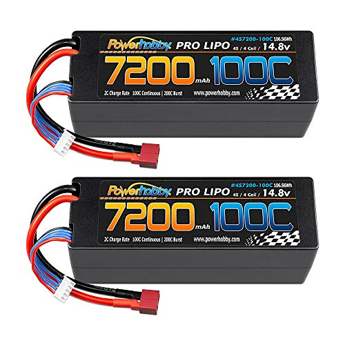 Powerhobby 4S / 4-Cell 14.8v 7200mah 100C-200C Lipo Battery w Deans Plug Hard Case (2 Pack)