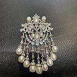 yuge Perla de agua dulce blanco retro broche mujer regalo moda joyería ropa decoración