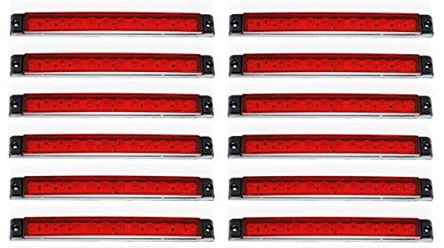 10 x 24 V lange 12 LED hintere Seite rote Markierungsleuchten Lichter 175 mm Lichter LKW Anhänger Chassis Kipper Wohnwagen