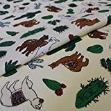 Hans-Textil-Shop Stoff Meterware Alpaka auf Pastellgelb -