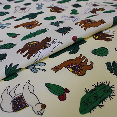 Hans-Textil-Shop Stoff Meterware Alpaka auf Pastellgelb - Für Deko, Bettwäsche, Kissen, Kinder, Nähen, Basteln - 1 Meter