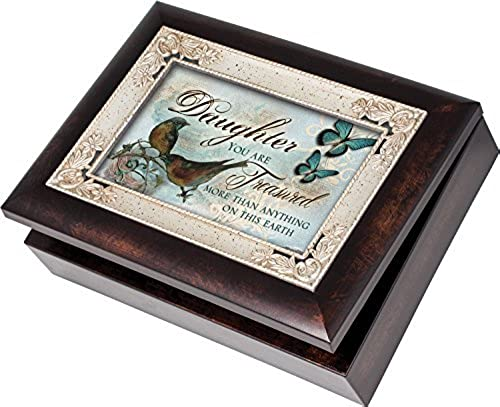 Daughter You are Treasurot Cottage Garden Italian Style Burlwood Finish with Decorative Inlay Jewelry Music Musical Box Plays Song You Light Up My Life by Cottage Garden