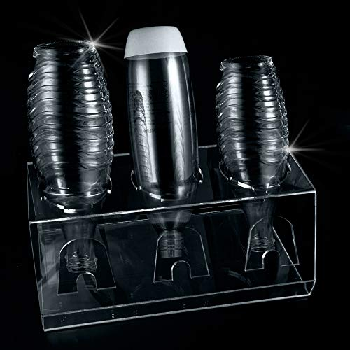 XtraCare Sodastream Abtropfhalter aus Acrylglas, Spülmaschinenfester Abtropfständer für Sodastream und Emil Flaschen mit Deckelhalterung, Crystal Flaschenhalter für 3 Flaschen und 3 Deckel