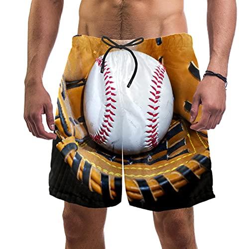 Yuzheng Tronco de Hombre de Secado rápido Guante de béisbol Pantalones Cortos de Playa con Bolsillos para Hombre Regular Extendido