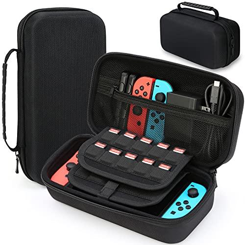 HEYSTOP Custodia Compatibile con Nintendo Switch /Switch OLED Custodia con più Spazio per 20 Cartucce, Custodia Portatile Compatibile con Nintendo Switch /Switch OLED Console & Accessori (Nero)