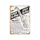 ABLERTRADE 8 x 12 Inch Sign Buescher Saxophones Vintage Look Reproduction Wall Decor Metal Tin Sign