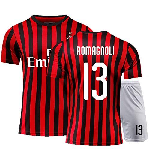 Milan13# 19-20 (Home & Away) Kind Erwachsene Fußball-T-Shirt, Fußballuniform, Fußball-Trikots, mit atmungsaktivem und schwitzendem, Fußball-Geschenk 19-20red-140