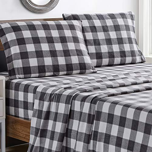 softan Polar Fleece Bed Sheet Set, Super Soft Plush Microfiber 4 Pcs, Easy Care and Breathable Bed Sheets with 15' Deep Pocket for All Seasons, Grey Plaid, Queen