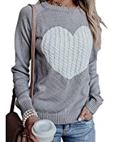 Exlura Women's Casual Sweater Heart Pattern Patchwork Pullover Long Sleeve Crew Neck Knits Loose Top Grey