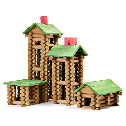 SainSmart Jr. 450 PCS Wooden Log Cabin Set Building House Toy for Toddlers, Classic STEM Construction Kit with Colorful Wood Logs Blocks for 3+ Years Old