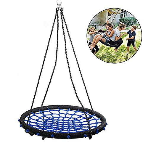 24 Inch Spider Web Tree Swing Set, Kids Outdoor Round Net Swing Platform Rope Swing met hangende touwen en duurzaam stalen frame