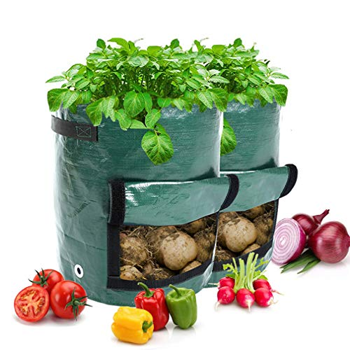 Vitog 5-Pack 7 Gallon Grow Bags for Potatoes Thickened Garden Plants Grow Bags with Handheld Large Harvest Window Portable Vegetables, Fruits, and Flowers Breathable PE Container(5 Packs)