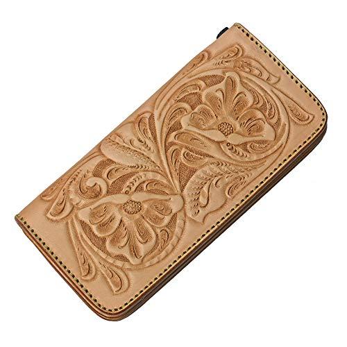 Binich(ビニッチ) フラワー カービング レザーウォレット カウレザー 牛革財布 メンズ 柄