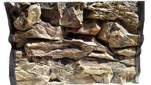 3D Beige Rock Aquarium Background Size: 77x42cm - Can Fit: Fluval Roma 125