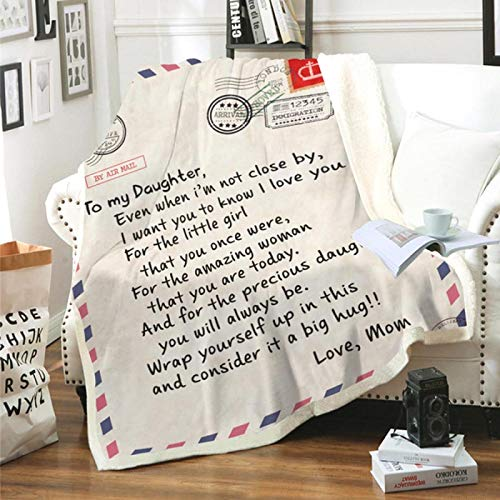 Manta De Sofá Blanket Manta De Diseño De Letras para Mi Hija/Esposa/Hijo/Novia Cálida Y Acogedora Manta De Invierno con Letras para Cama, Sofá, Colchas, 150X130Cm, Multi