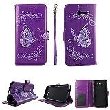Butterfly Purple Wallet Folio Case for Samsung Galaxy J7 (2017, GSM CDMA) / J7 Prime 2017 / Halo/ J7 Perx / J7 V/ J7 Sky Pro Fashion Flip PU Leather Cover Card Cash Slots & Stand
