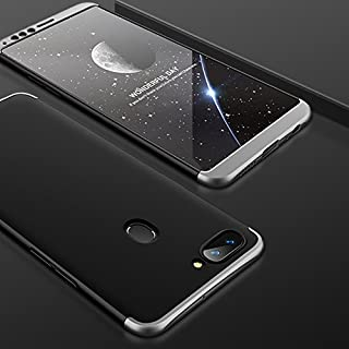 Case Oppo R11s Plus 360 Degrees Protective Cover + 2 Pieces High Quality Tempered Glass Film, 3 in1 Full Body Protection Bumper Hard Phone Case Ultra-Thin Skin Case for Oppo R11s Plus (Black Silver)