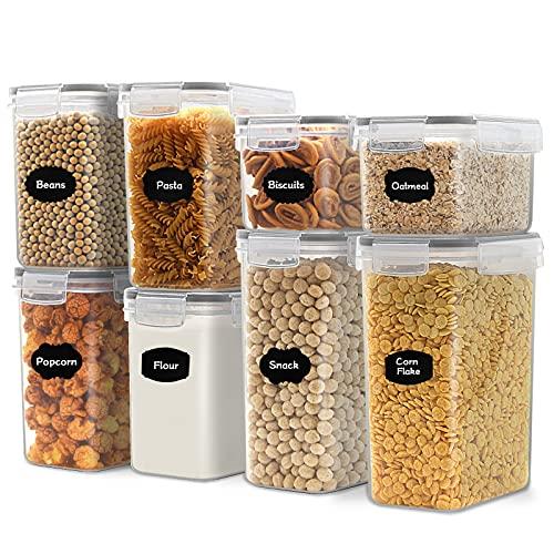 JUCJET Recipientes para Cereales Almacenamiento de Alimentos, Jarras de Almacenamiento de Plástico con Tapa Hermética Sin BPA,Juego de 8 + 16 Etiquetas, para Cereales, Pasta, Harina (Negro)