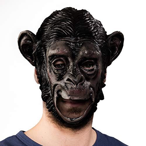 PartyMarty Special-FX Maske AFFE Schimpanse Gorilla - beweglicher Mund / Moving Mouth - hochwertige Latexmaske für Halloween, Fasching, Karneval & Co.