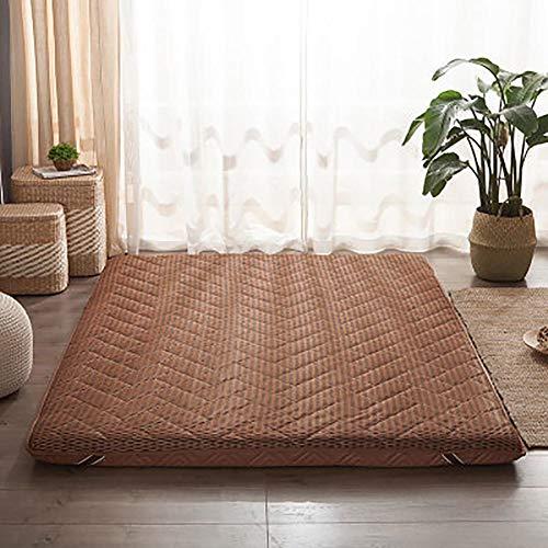 Tatami Víveres,Respirable Colchón Futon Couch Plegable Cama De Huéspedes Japonés Futón Dormir Alfombra Colchón De Repuesto-Marrón 135x200cm(53x79inch)