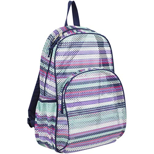 Eastsport Mesh Backpack With Padded Shoulder Straps, Blue/Candy Stripe