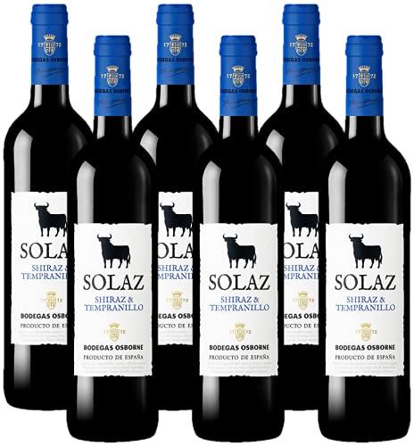 Osborne Solaz Shiraz & Tempranillo Trocken (6 x 0,75l) – Fruchtbetonter, harmonischer Rotwein aus der spanischen Wein-Region Tierra de Castilla