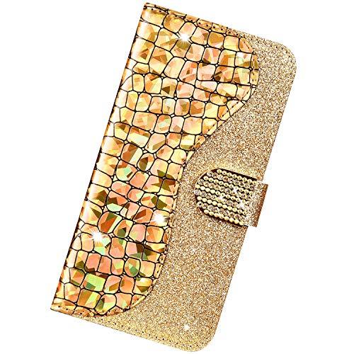 Urhause Kompatibel mit Xiaomi Redmi 6 Pro,Bling glitzer Kristall Strass Schutzhülle Case Cover PU Leder Hülle Wallet Flip Schutzhülle mit Ständer Kartenfächer Magnet Handyhülle,Gold